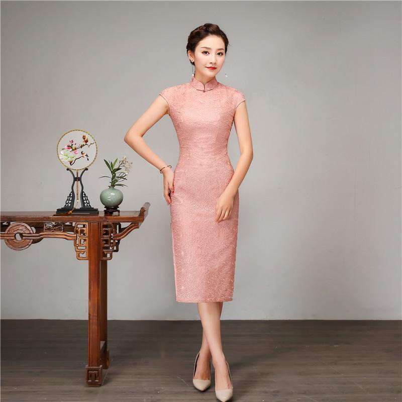 e4bab8d0bd18 2019 Chinese Style Women Slim Long Qipao 100% Silk Short Sleeve Cheongsam  Pink Mandarin Collar Girl Evening Party Dress Vestidos From Jerkin, ...
