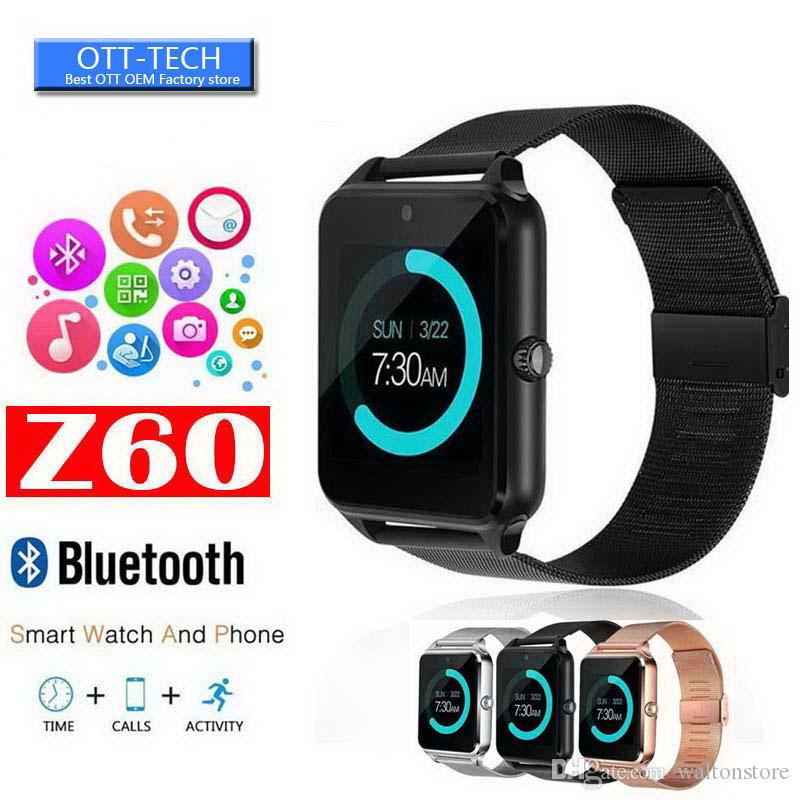 Bluetooth Watch Phone intelligente Z60 in acciaio inox di sostegno SIM TF card Fotocamera Fitness Tracker GT08 GT09 DZ09 A1 V8 Smartwatch per IOS Android
