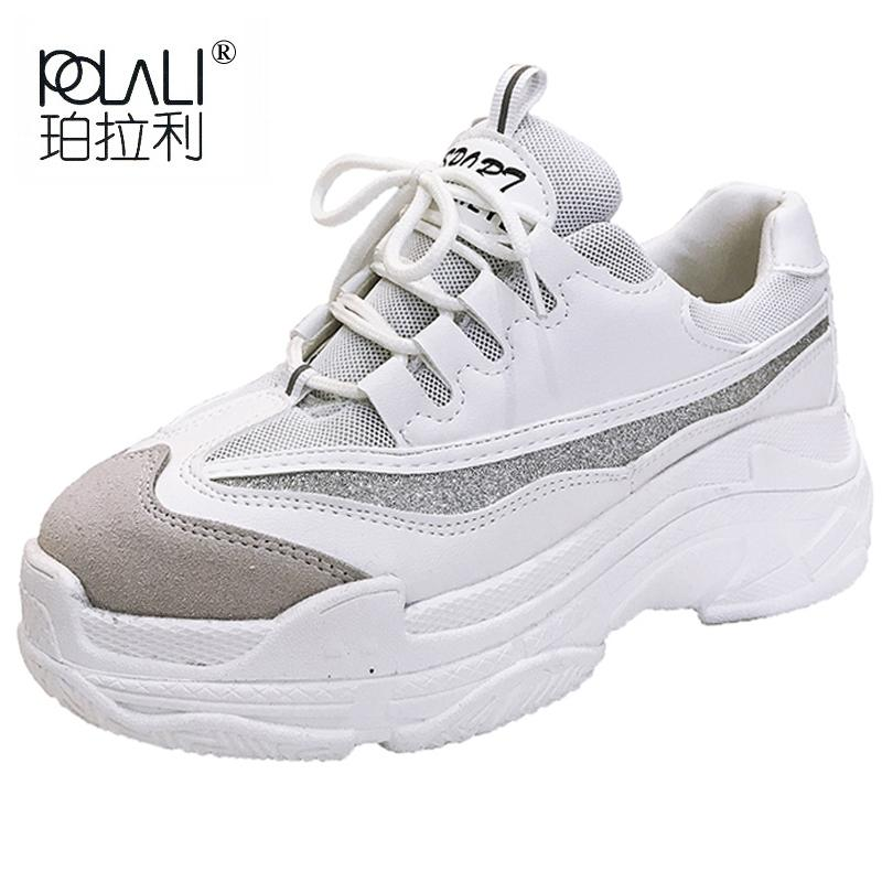 POLALI Plus Size 35 43 Platform Shoes Women Fashion Glitter Sneakers Women  Thick Sole Chunky Shoes PU Leather Upper Dad Mens Boots Moccasins From  Tinypari 17e2190bee69