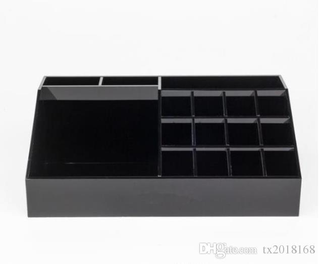 New Classic Acrylic Black Lipstick Multifunctional Display Stand Cosmetics Organizer Accessories Storage Boxes with Gift Boxes 2018