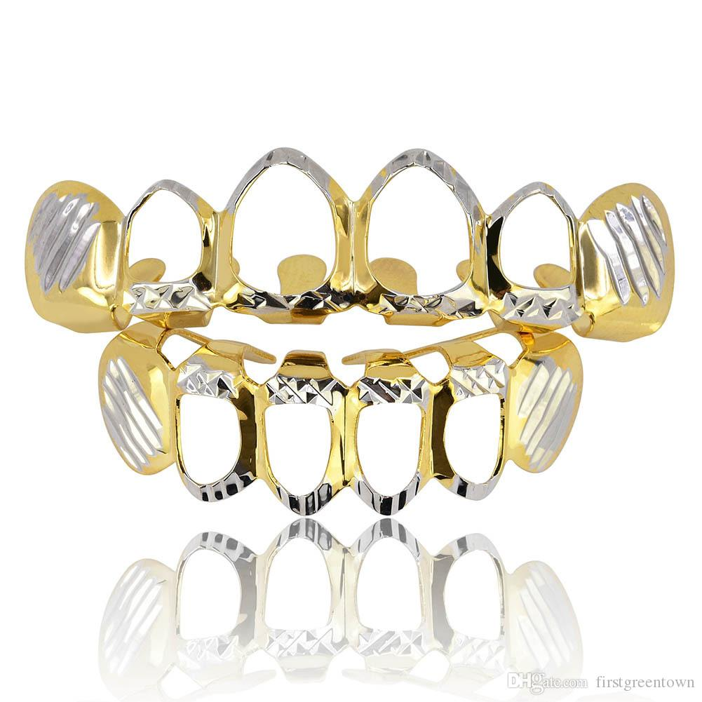 Flower-wrapped Hollow Hip-hop Gold Braces 18K Real Gold Teeth Grillz Top Bottom Grill Set Men Women Vampire Grills