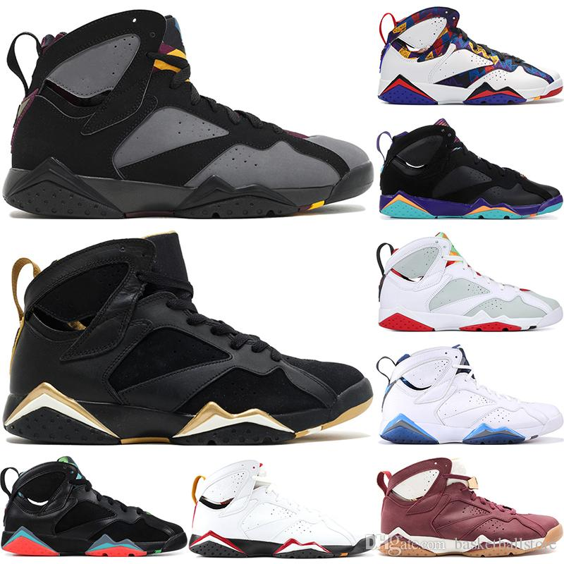 timeless design cc116 5b71c Mejor Calidad Nike Air Jordan 7 Retro Raptor Bordeaux Hare Tinker  Alternativo Hombres Zapatos De Baloncesto French Blue Cigar Golden Moments  Paquete ...
