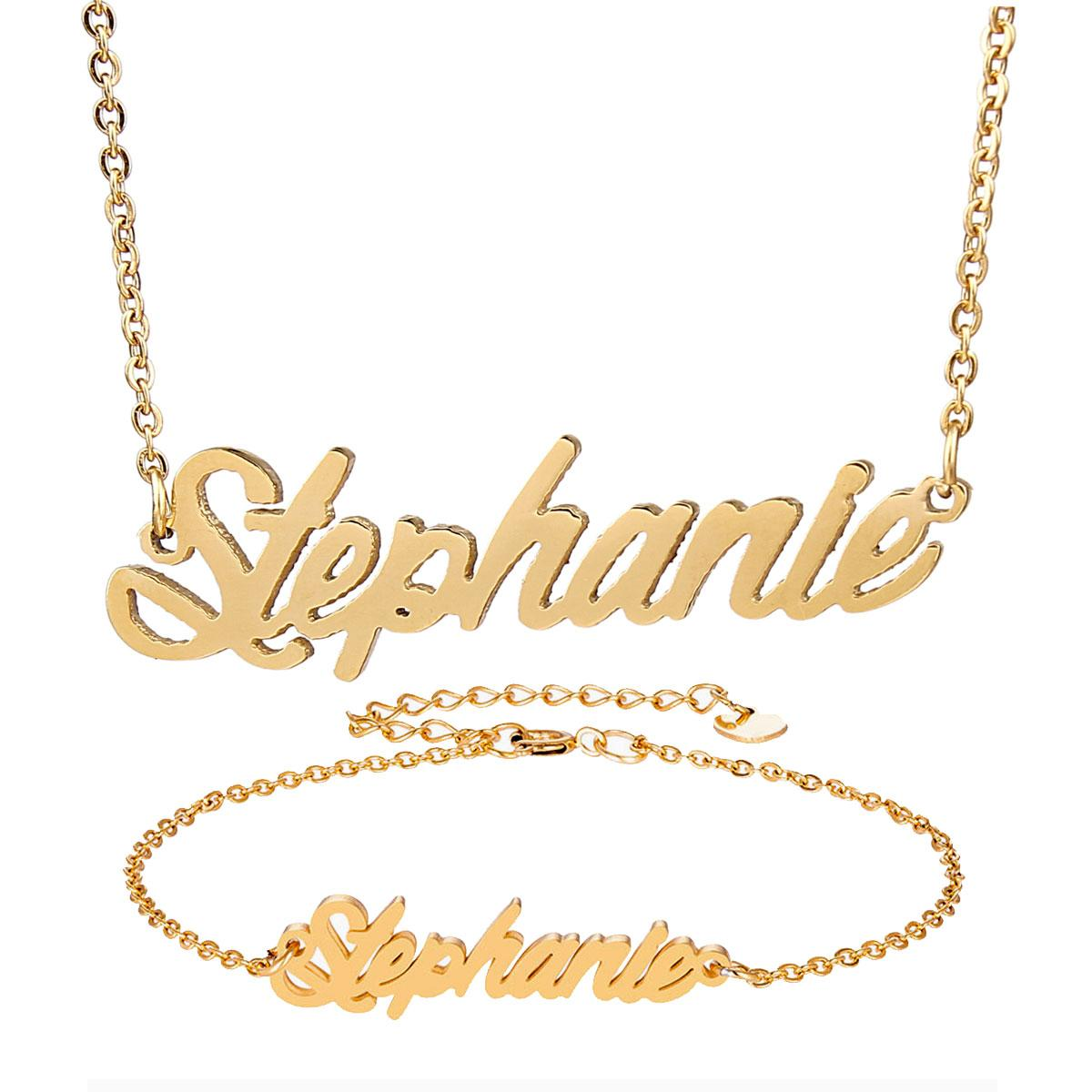 bf9eb96b8fa1d Statement Script Cut Nameplate Necklace Name Stephanie Gold Chain for Women  Stainless Steel Name Necklace Bracelet Set Pendant Gift