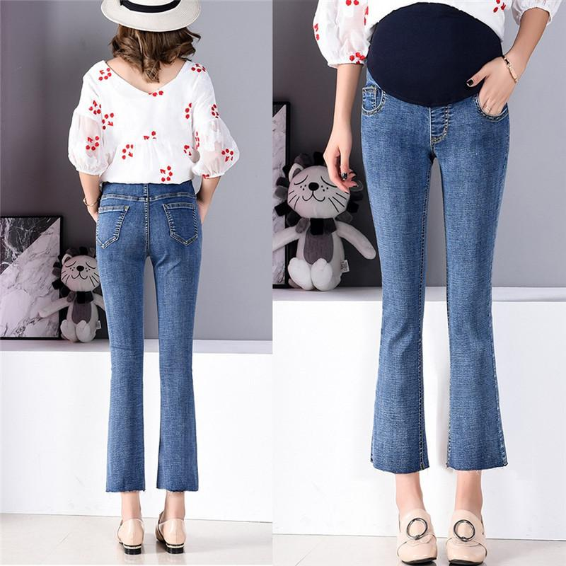 6bb8fbd949700 2019 Pregnant Woman Ripped Jeans Maternity Pants Trousers Belly Legging  Elastic Loose Hole Stomach Lift Pregnant Women Jeans From Namenew, $23.68 |  DHgate.