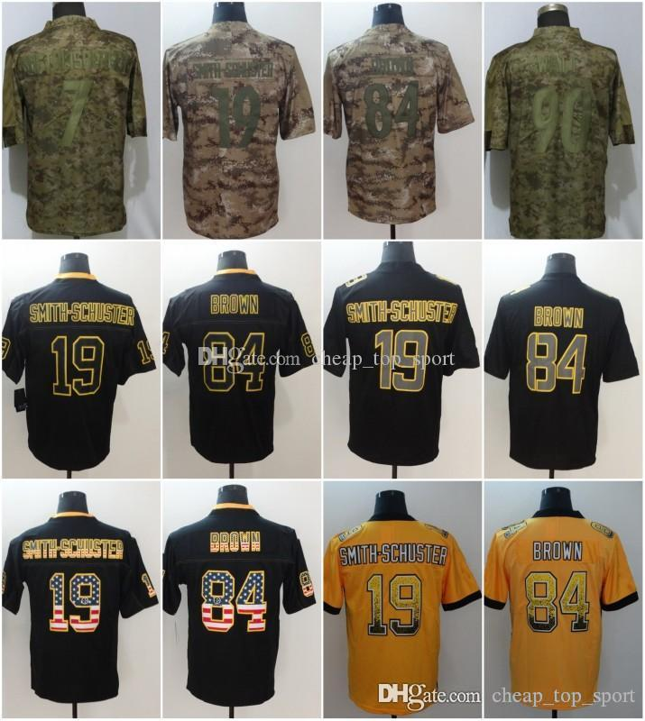 13936fad6 2019 JuJu 19 Smith Schuster Pittsburgh Jerseys Alejandro 78 Villanueva Steelers  2018 USA Flag Lights Out Black Rush Drift Camo Salute To Service From ...
