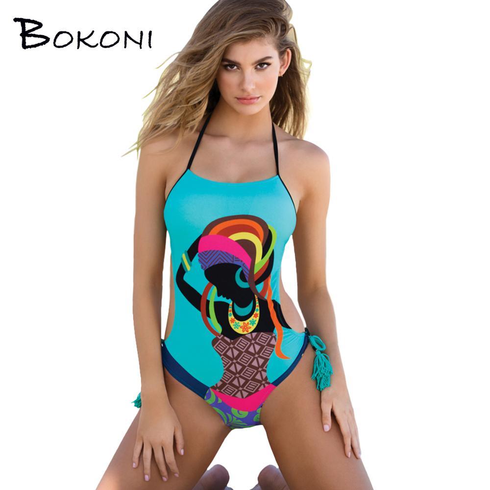 7eb5b82a39297 2019 2017 Sexy Monokini Printed One Piece Swimsuit Retro Swimwear Bathing  Suit Women Halter Surfing Maillot De Bain Female Swimsuit From Housecoat,  ...