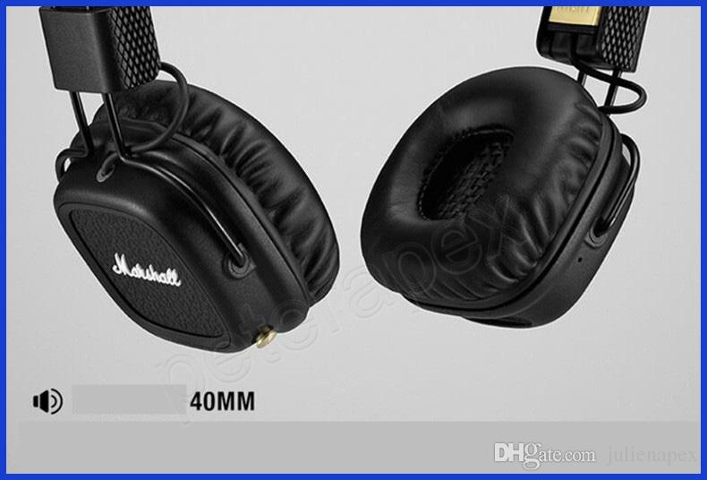 Marshall Major Ii 20 Bluetooth Casque Sans Fil En Noir Dj Studio Casque Deep Bass Casque D Isolation De Bruit Pour Iphone Samsung 10pcs