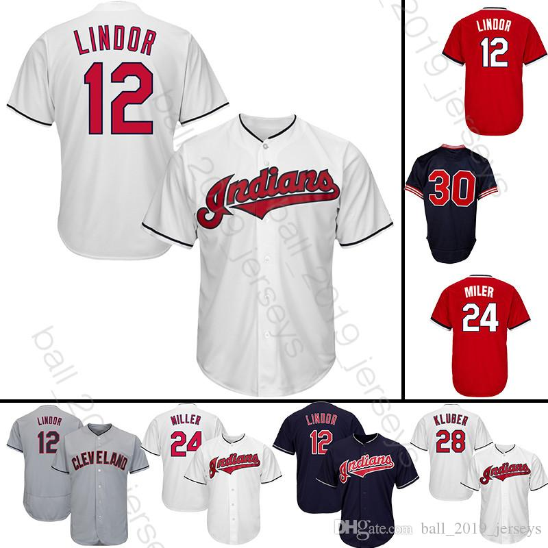 best loved 3520e 351c5 12 Lindor 24 Miller jersey Cleveland 30 Joe Carte Indians jerseys 10 Edwin  Encarnacion baseball jerseys