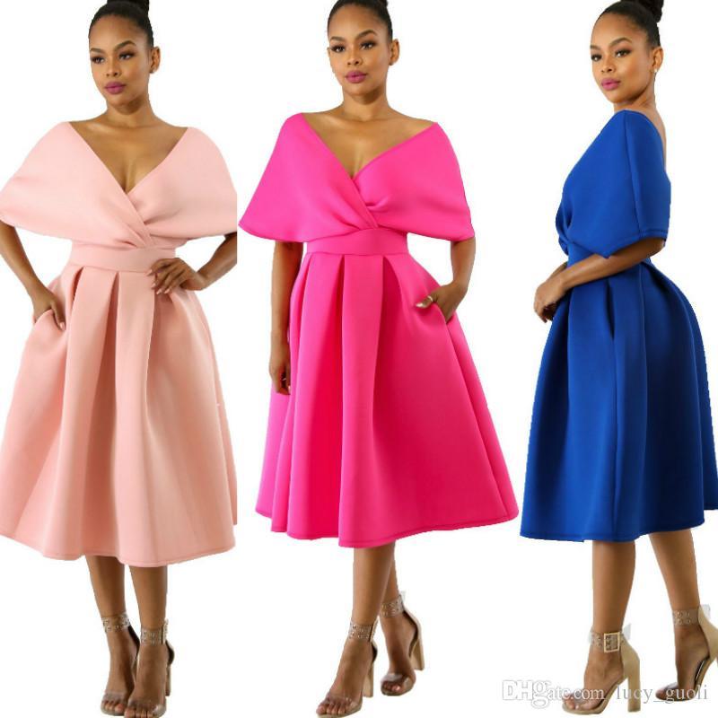 57475ddd1d5 Fashion Women Summer Dress Cute Off Shoulder Long Sleeve Dress Feminine  Sexy V Neck Pure Color A Line Knee Length Party Dress Partyt Dresses Buy  Dress ...