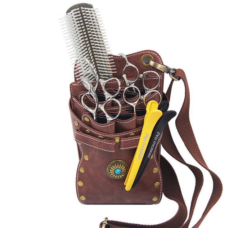 Hair Scissor Clips Schultergürteltasche Hüfttasche - PU-Leder-Haarpflege-Werkzeuge Kammschere Lagerung Friseur-Friseur-Taschen