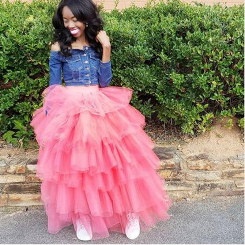 7d9ba3b237b35e 2019 New Arrival Sweet Pink High Waist Tulle Skirt Women Tiered Ruffle Long  Maxi Party Elegant Layered Formal Skirt Custom Fashion From Amandal