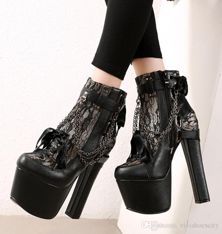16cm Luxury metal chain buckle chunky heel platform motocycle boots designer shoes size 34 to 40