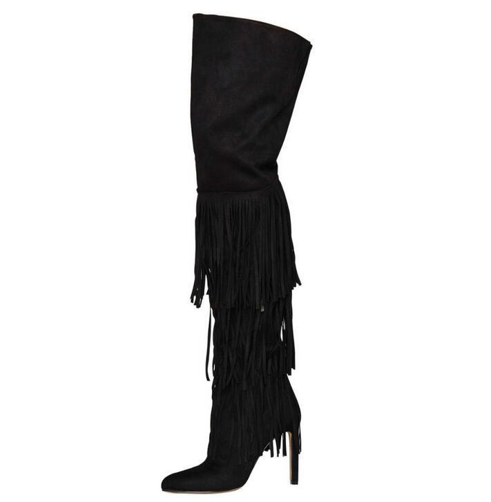 New Black Tassel Women Long Boots Fashion Pointed Toe High Heel