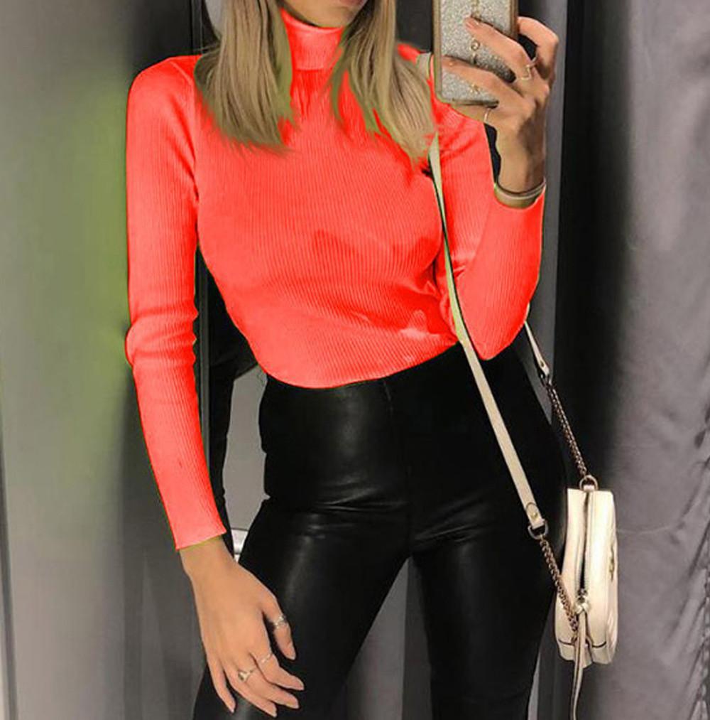 거북이 티셔츠 맞는 형광 색상 여성 패션 단색 긴팔 탑 폴 리 에스테 르 모델 2019 camiseta feminina