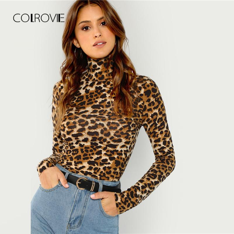 1266ed52453b COLROVIE Leopard Print Turtleneck Workwear Ladies T Shirt Women Clothing  2019 Spring Long Sleeve Sexy Female Shirts Tops Tee Tee Shirt Deals Online  Shopping ...