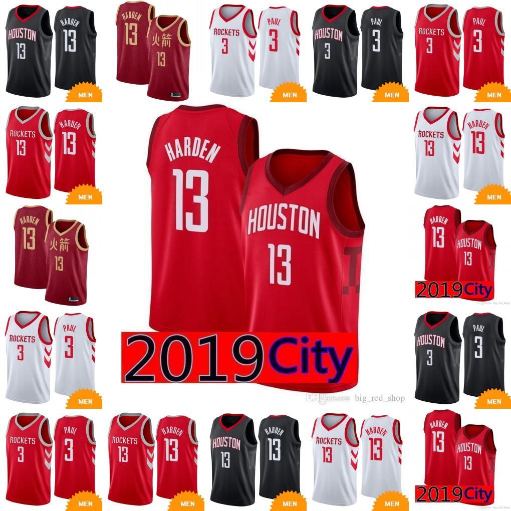 big sale cb413 bfbf8 Houston Rocket James 13 Harden Jersey New Carmelo Chris 3 Paul Basketball  Jerseys Rockets Embroidery Logos