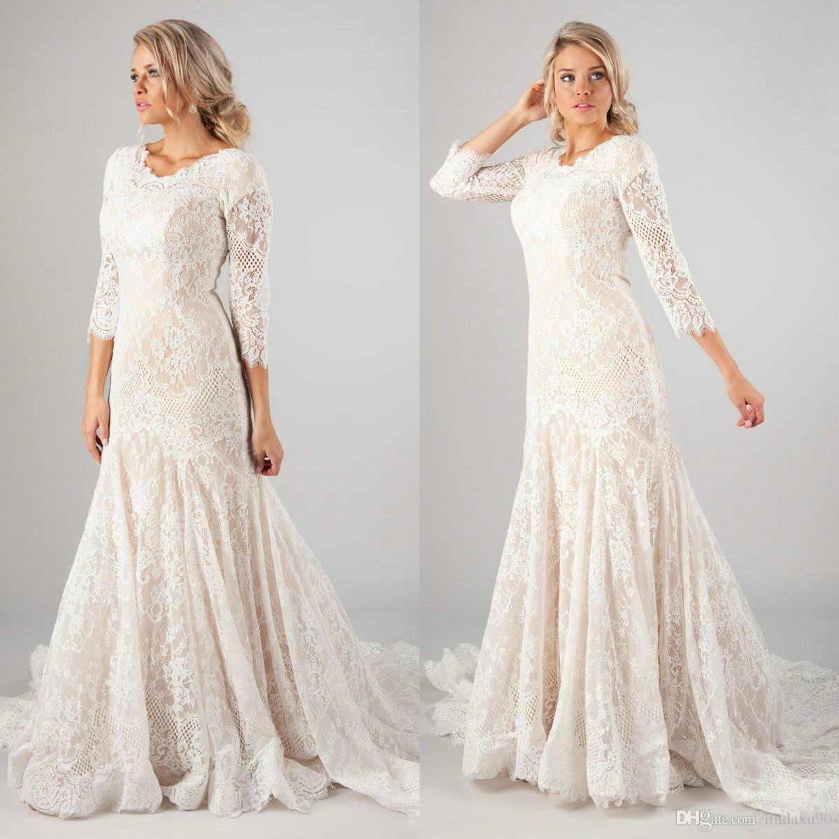 c149fb627fc7 2019 New Mermaid Lace Modest Wedding Dresses With 3/4 Long Sleeves Vintage  LDS Muslim Bridal Gowns Sweep Train Buttons Back Wedding Dresses Mermaid  Style ...
