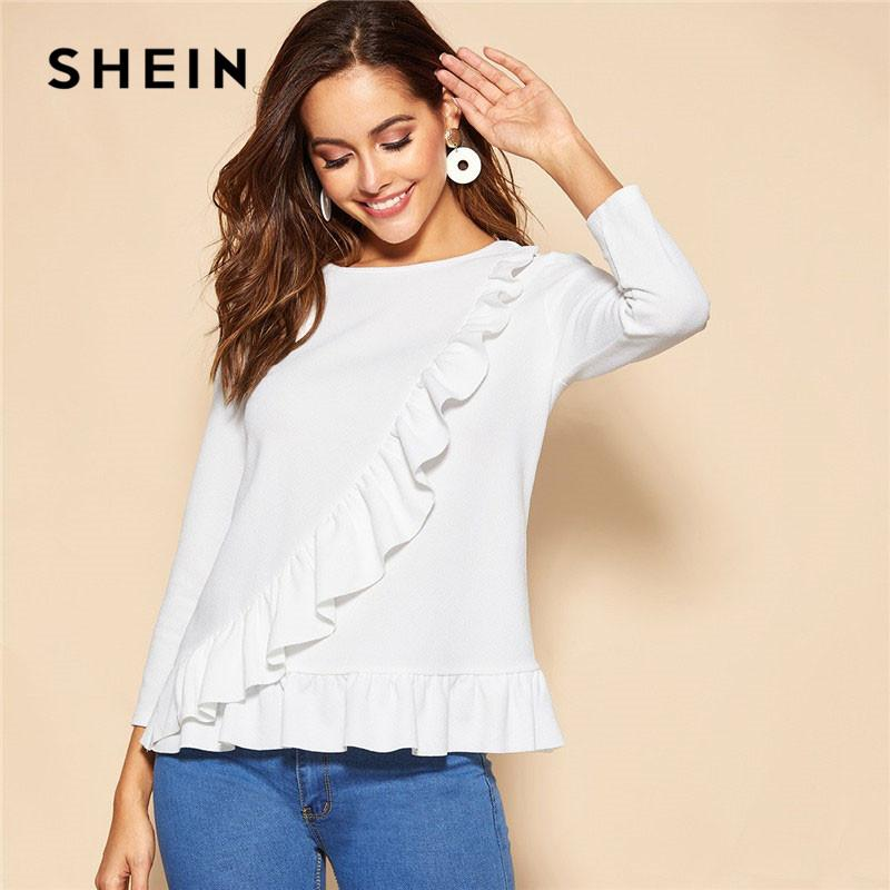 4262f2d3a3 2019 SHEIN White Ruffle Trim Peplum Long Sleeve Solid Top Blouse 2019 Women  Spring Casual Minimalist Sweet Tops And Blouses From Fenghuangmu, ...