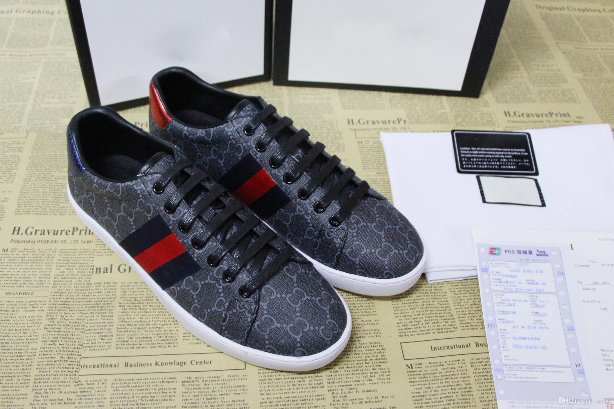 c7ea4f141196 Acheter Chaussures De Sport Pour Hommes De Marque Luxuxy Sneakers En Cuir  De Marque Ace Letter G Baskets Pour Hommes Femmes Taille 34 46 De $123.78  Du Tuyue ...