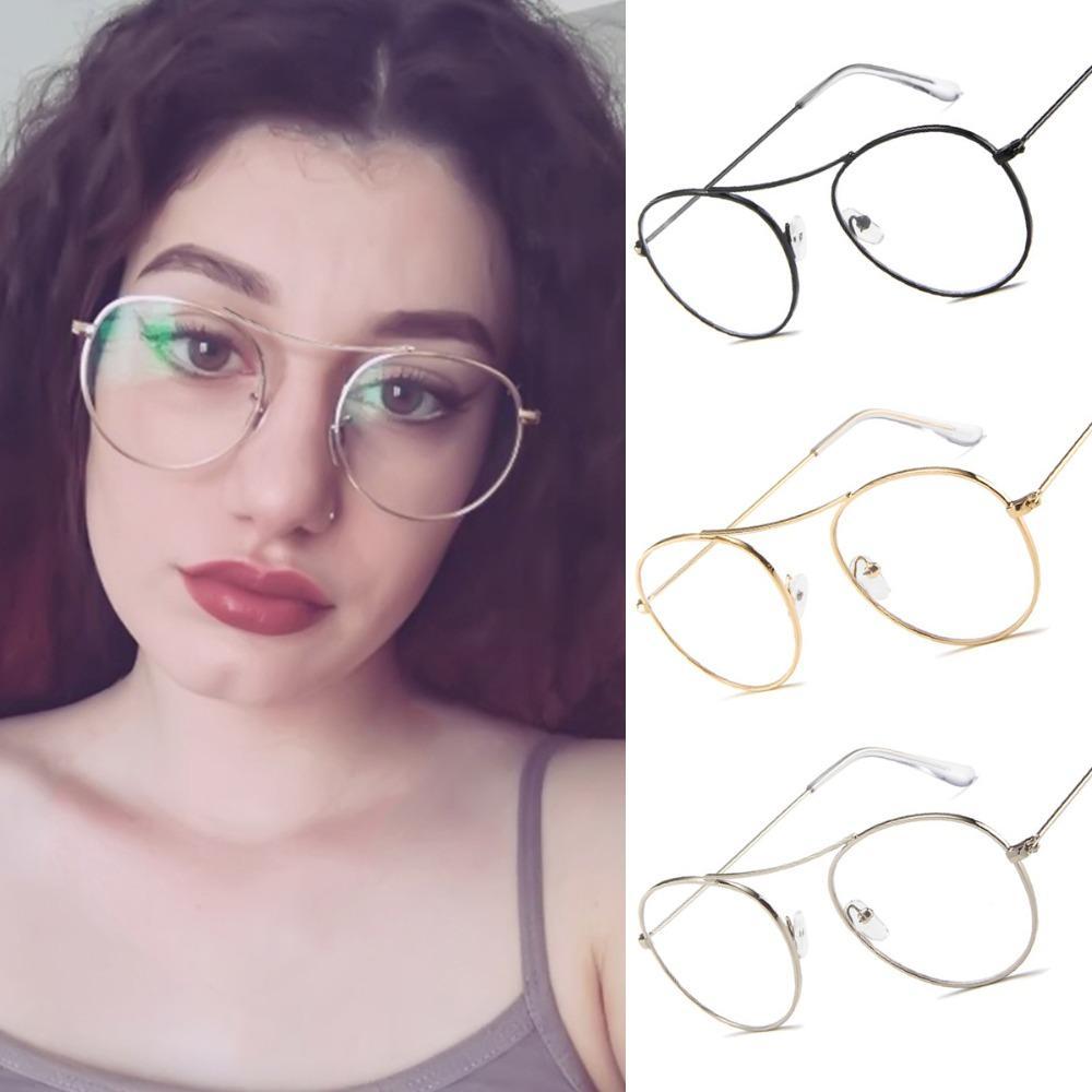 41c88fbf5 Compre Evrfelan Moda Armação De Metal Óculos Para As Mulheres Limpar Lens  Armações De Óculos Unisex Forma Redonda Retro Eyewear Transparente Oculos  De ...
