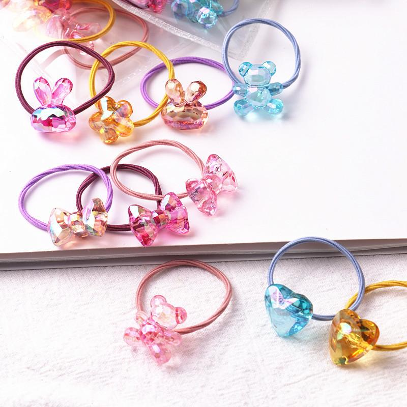 10pcs/lot Summer New Color Children's Rubber Band Ice Cracked  Soft Cute High Elastic Girl Hair Rope Cute Fresh Hair Ring