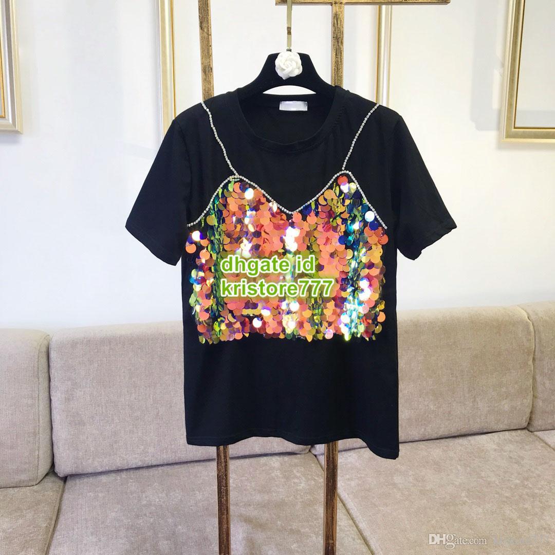 5b9f6c207 Women Sequins With Rhinestone Tee Brand Girls Print T Shirt Tops Apparel  Shirt Fashion Show Customize Casual T Shirt Summer Tee 2019 Long Sleeve  Shirts T ...
