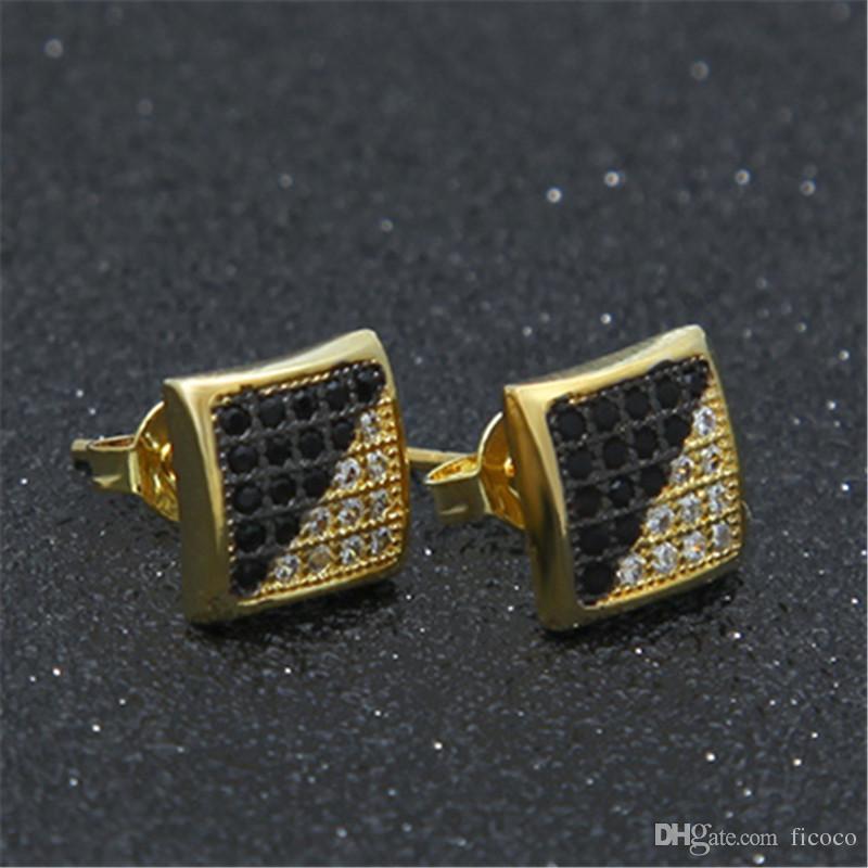 77ef6030970ce Bulk Lots 8.5*8.5mm Double Color Gold Silver CZ Stud Hiphop Men Earrings  Oorbellen Designer Earrings Fashion Studs Earring Jewelry Orecchini
