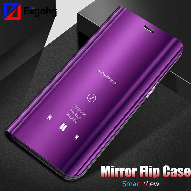 new product 43a65 4d360 Clear View Mirror Smart Flip Case For Samsung Galaxy J7 Neo J3 J5 2017 A3  A5 A7 J2 A6 A8 2018 S9 S8 Plus Note 4 5 8 Leather