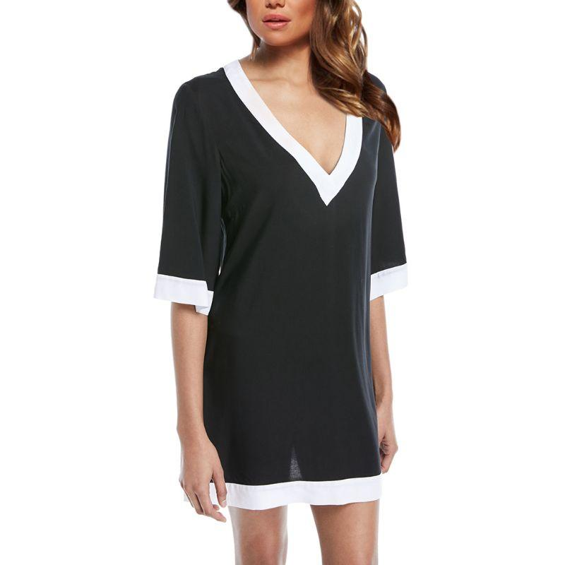Womens Summer Vacation Half Sleeves Pullover T-Shirt Dress Black White Contrast Blouse Plunging Deep V-Neck Mini Bikini Cover Up