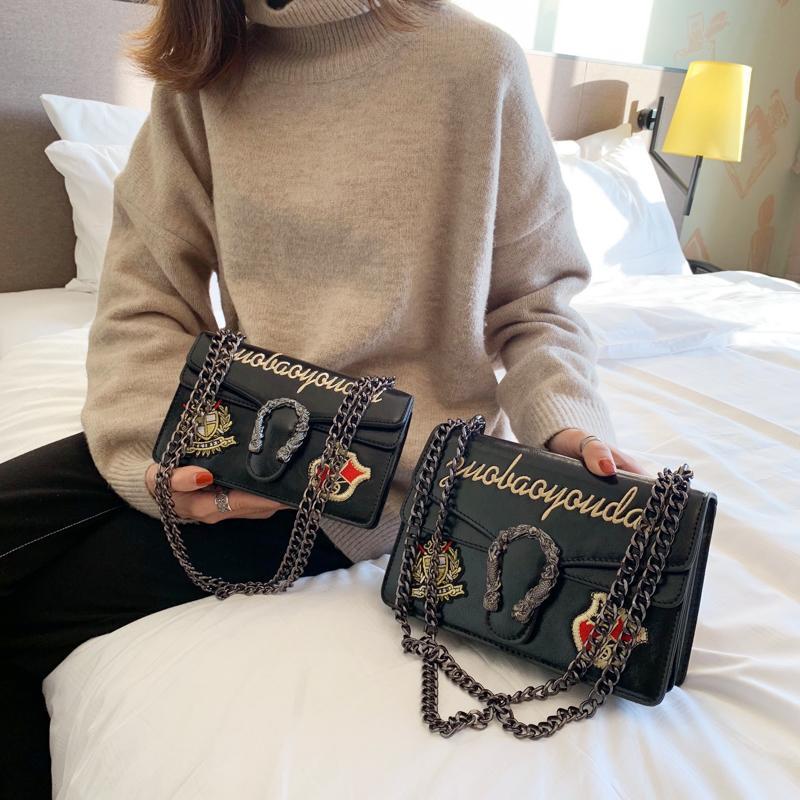 bce90dc47de5 Designer Handbag Leather Embroidery Handbags With Snake Decoration Shoulder  Bags Chain Belt New Style Shoulder Bag Womens Bags Black Handbag From  Iamcindy