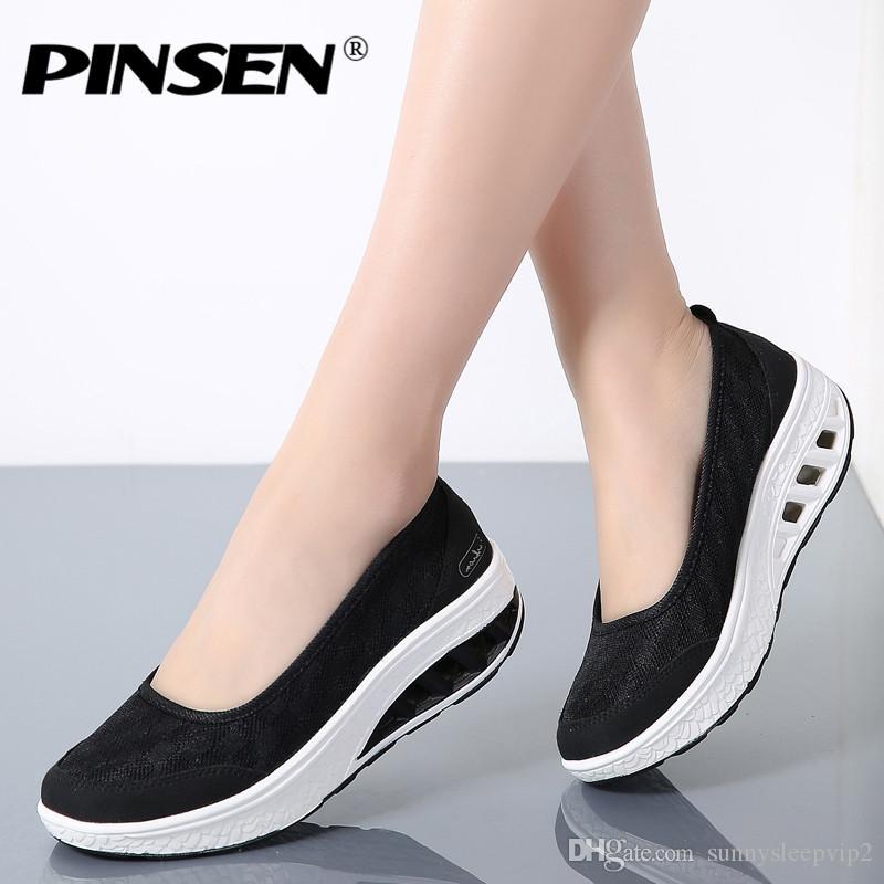 Compre PINSEN 2019 Verano Zapatos Casuales Mocasines De Plataforma Plana Zapatos  De Mujer Slip On Flats Mocasines Creepers Chaussures Femme Zapatos Mujer A  ... eefe75930766