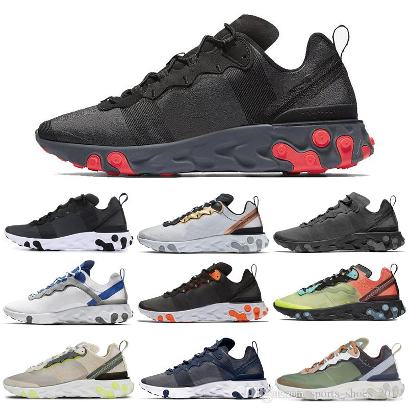 Nike React Element 55 87 Shoes Zapatillas de running Negro Orewood Marrón Medianoche Azul marino Naranja Tinte real Hyper Fusion Mujeres Hombres