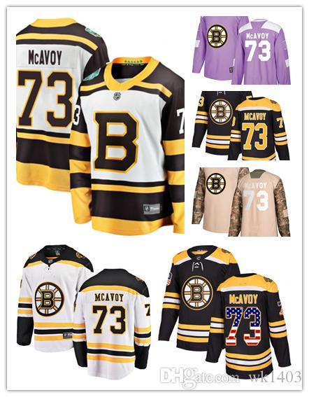 official photos 996c6 dc0a3 Boston Bruins jerseys #73 Charlie McAvoy jersey hockey team men women white  black drift Authentic winter classic Stiched CCM Jersey