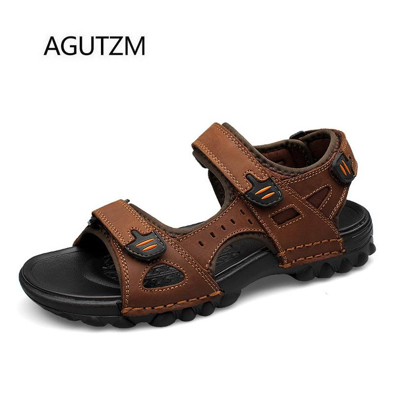 89f6af64bd68 AGUTZM 68 4 New Summer Fashion Classic Style Men S Sandals Double Hook    Loop Belts Plus Size   38 48 Mens Beach Sandal Shoes Flat Shoes Wedge Shoes  From ...