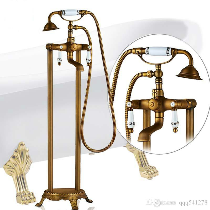 Antique Brass Freestanding Bathtub Faucet Set Dual Ceramic Handle