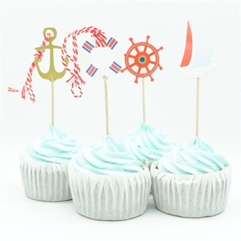Grosshandel 24 Teile Los Segel Anker Tour Party Cupcake Topper