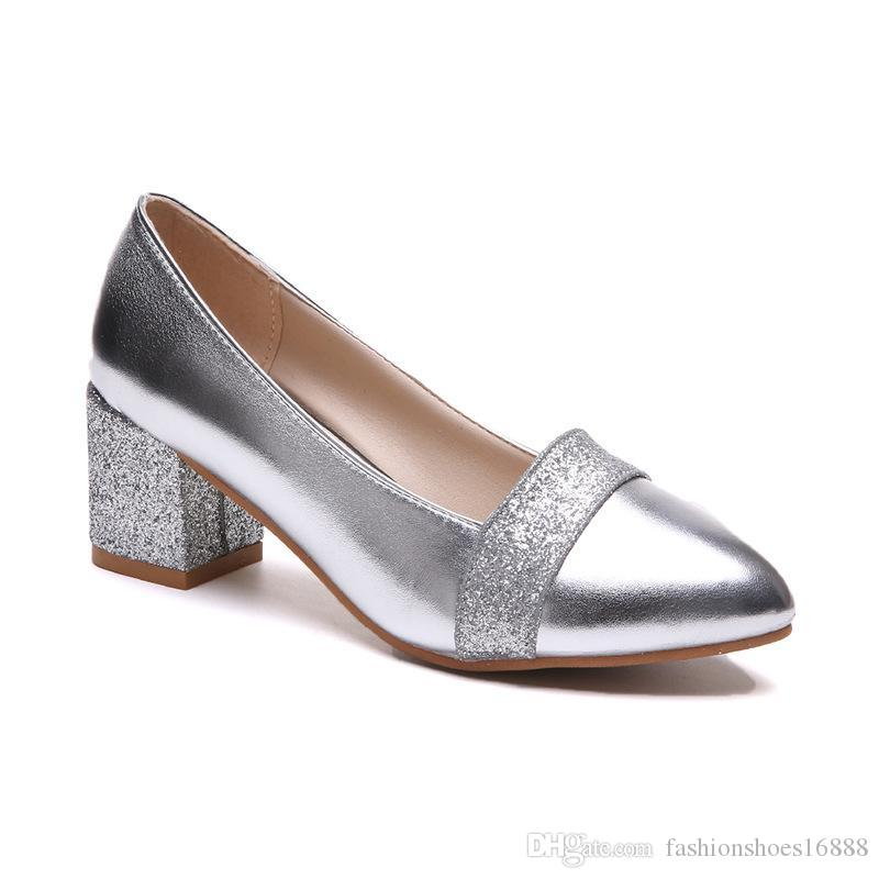 0fdccdd0e2a Sequin Pointed Toe High Heels Large Size 41 Thick Heels Women Pumps  Silver/Gold Heels Elegant Bridal Shoes Bling Block Heel Shoes