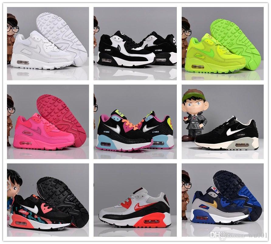 Nike Air Max 90 youth Running Shoes kid Sneakers max 90 run Sports shoe classic 90 Trainer Air Cushion Surface size 26 35
