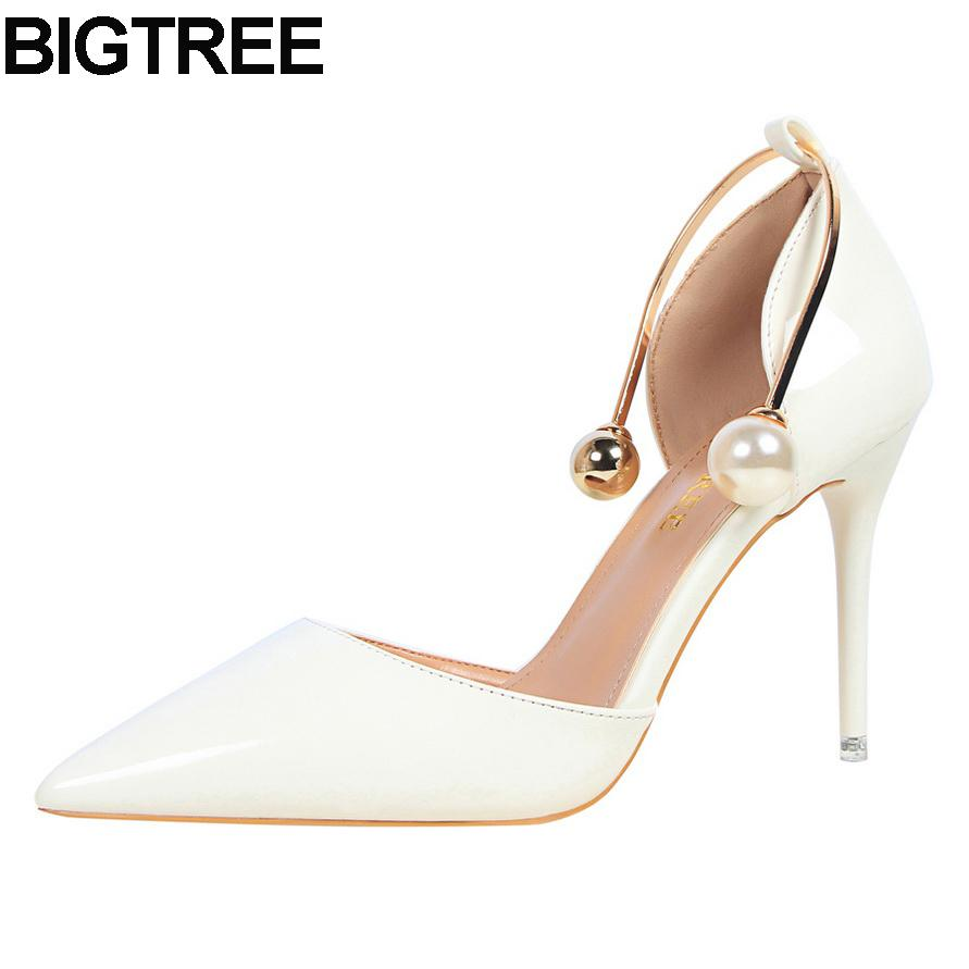 80f835c1e7f Dress Bigtree Women Thin High Heel Pumps Faux Pearl Bead Metal D Orsay Two  Piece Stiletto Shoes Multi Color White Silver Nude Pink Brown Dress Shoes  Leather ...