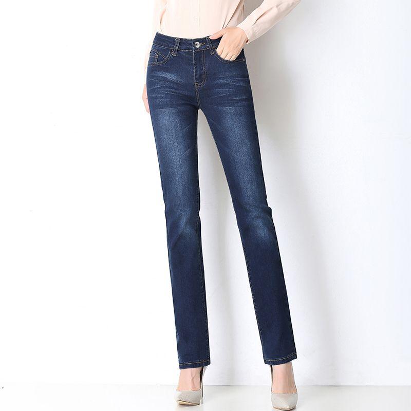 f07380d6b5 Acheter 2019 Nouvelles Femmes Jeans Évasés Taille Élastique Bleu Jambe  Large Pantalon En Denim, Plus La Taille Femme Tendance De La Mode  Décontracté ...