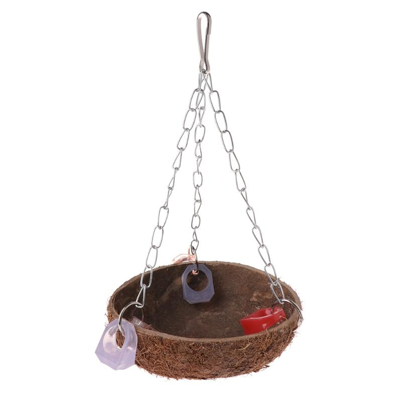 Beautiful workmanship Parrot Toys Perch Coconut Shell Swing Nest Hanging Cage Natural Birds Parakeet