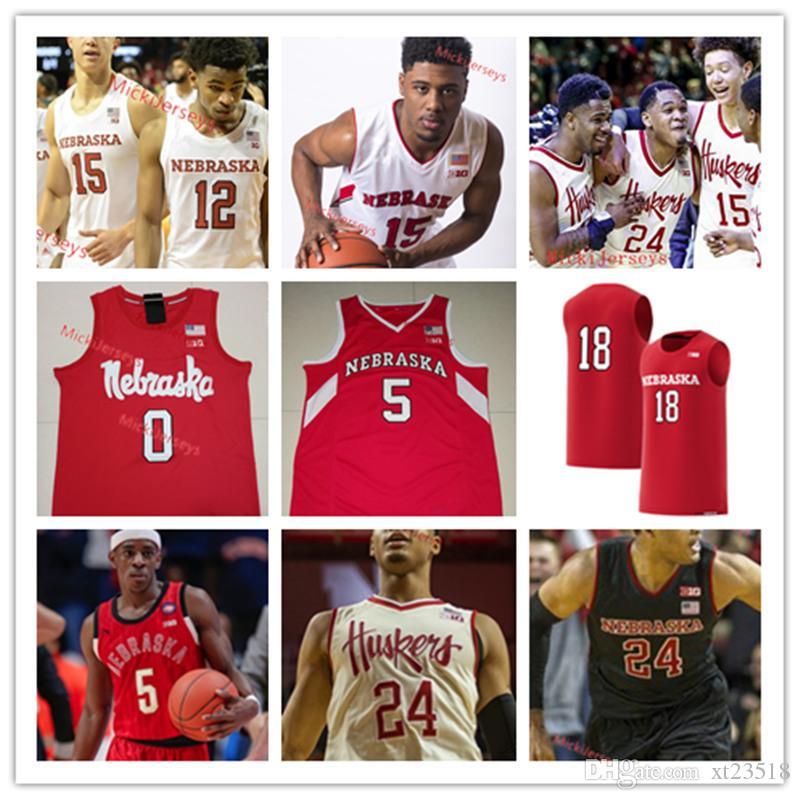 2f886b4a2223e1 Jersey de basquete personalizado de Nebraska Cornhuskers Isaiah Roby Tanner  Borchardt Justin Costello Tyronn Lue de Lantz Dave Hoppen Nebraska Jersey