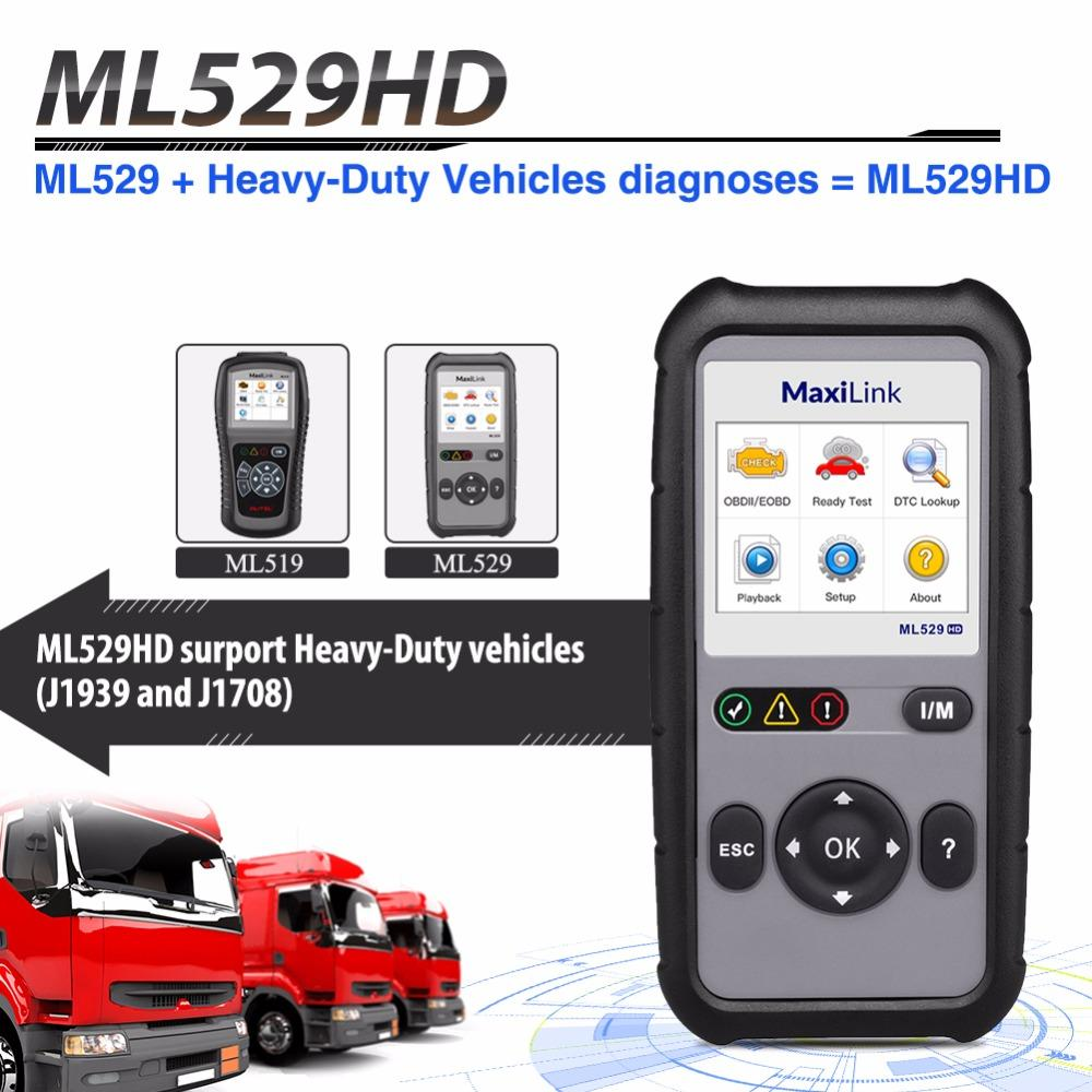 AUTEL ML529HD OBD2 Scanner with Enhanced Mode 6 One-Key Ready Test for  Heavy-Duty Code Reader Automotive Car Diagnostic tools