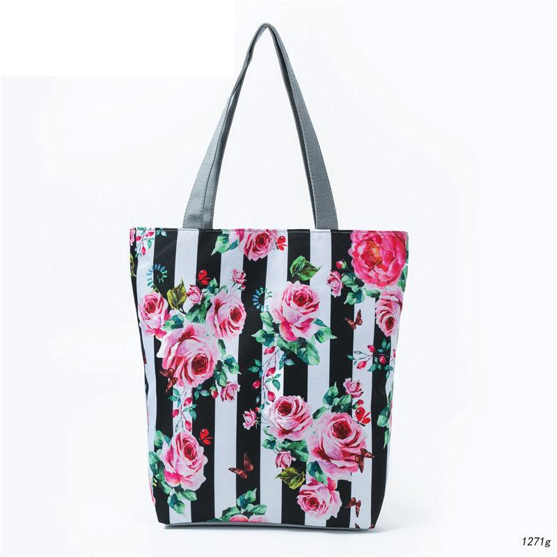 good quality White And Black Striped Design Shoulder Bag Women Canvas Floral Printed Tote Handbag Lady Beach Bag Summer