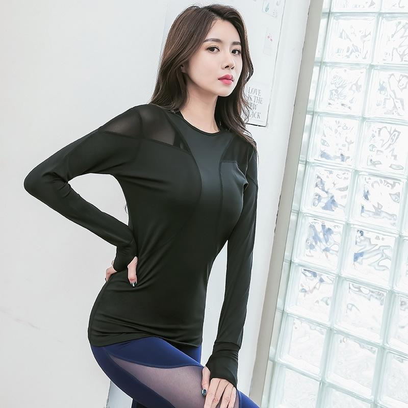 34018f3f8ce80 2019 Long Sleeve Yoga Tops For Women Sexy Hollow Mesh Training Top Workout  Gym Clothes Solid Thumb Hole Yoga T Shirts Ladies From Yarqi