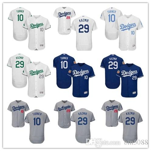 premium selection 34f84 b1487 Men's Majestic Los Angeles Dodgers #29 Scott Kazmir 10 Justin Turner  Authentic Royal Blue Team Logo Fashion Cool Base Jerseys
