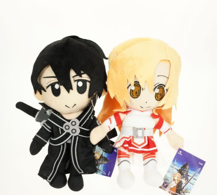 Anime Sword Art Online Asuna & Krito Plush Soft Stuffed Doll Toy for kids gift free shipping EMS kids toys
