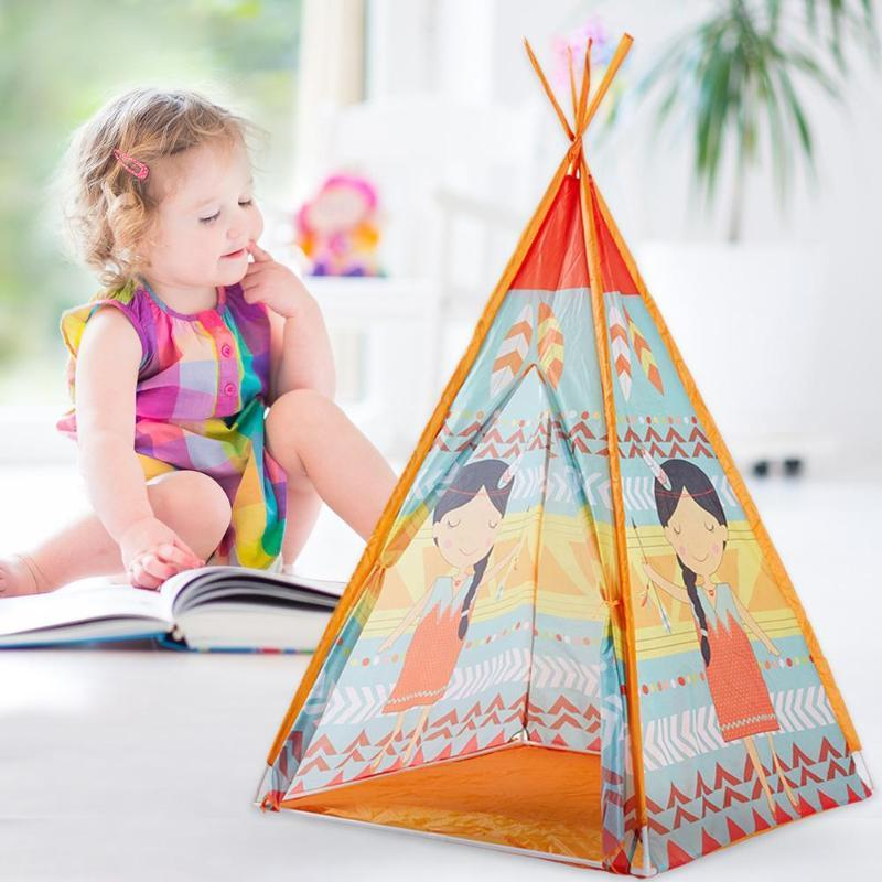 Kids Teepee Game House Cartoon Tent Children Toy Playhouse Mat Boys Girl House Gift Outdoor Camping Picnic Hiking Tent
