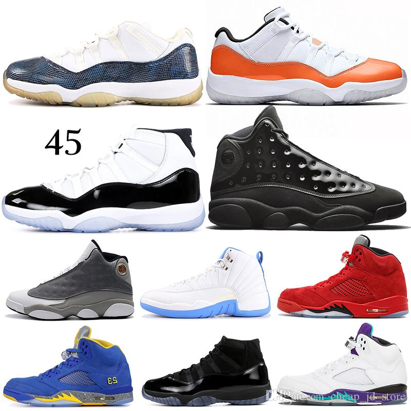 low priced 6cd02 a4c63 Acheter Nouveau 5 5s Grape Laney Chaussures De Basket Ball Taureaux 12s  Sneakerin Concord 11s Cap Et Robe 13s Atmosphere Grey Mens Sport Sneakers 7  13 De ...