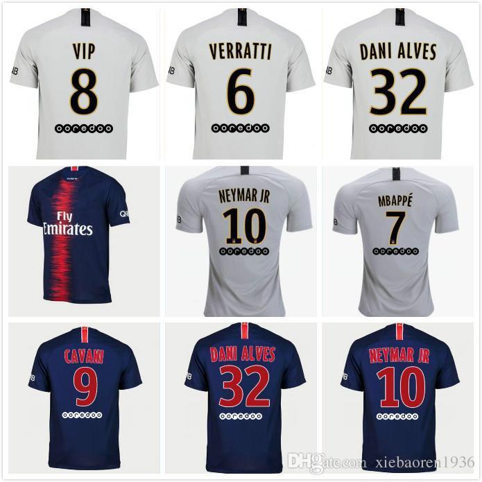 hot sale online 4381f 6e3cb 1 18 19 MBAPPE PSG soccer jersey 2018 2019 Paris CAVANI saint germain DI  MARIA DANI ALVES Maillot De Foot top Thailand white Football Shirts